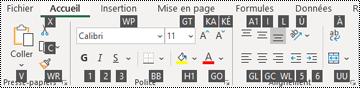 Touches d'accès du ruban dans Excel