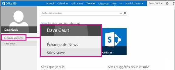 Capture d'écran de la page Sites avec le lien Échange de News mis en évidence