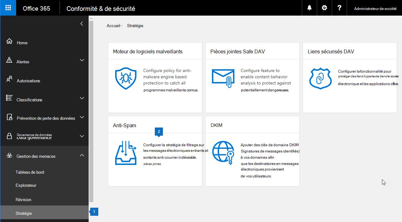 Cette capture d'écran montre comment accéder à la page de paramètres anti-courrier indésirable dans la sécurité et le centre de conformité.