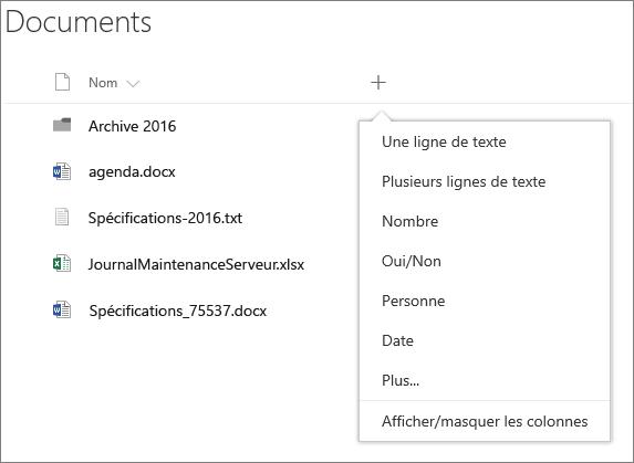 Ajouter une liste déroulante de colonnes dans une bibliothèque de documents connectée au groupe