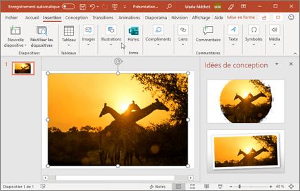En un clic, le Concepteur permet d'améliorer les photos d'une diapositive.