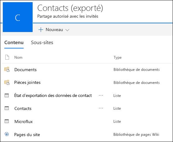 Page de sous-site SharePoint contenant des listes d'Access Web App exporté