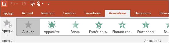 Onglet Animations sur le ruban dans PowerPoint