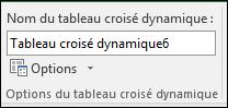 Renommer un tableau croisé dynamique à partir des outils de tableau croisé dynamique > analyser > zone Nom du tableau croisé dynamique
