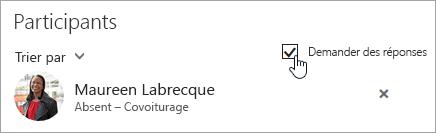 Capture d'écran du bouton Demander des réponses dans Outlook sur le web