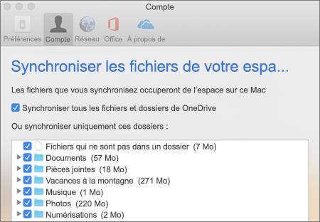 Boîte de dialogue dossiers synchronisation pour OneDrive pour Mac