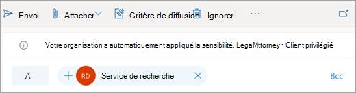 Capture d'écran d'un conseil sur une étiquette de sensibilité appliquée automatiquement