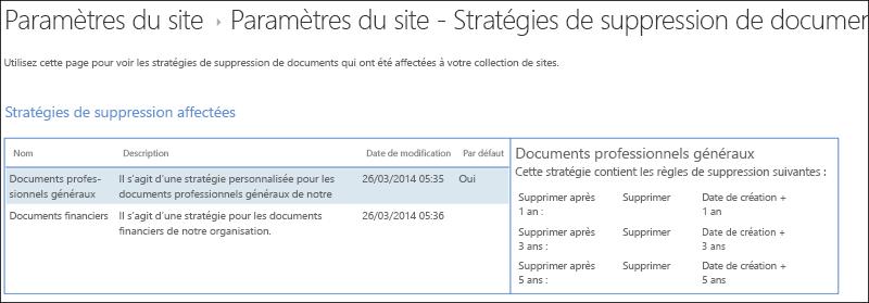 Règles de suppression de document affectés à une collection de sites