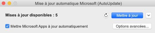 Fenêtre Microsoft AutoUpdate lorsque des mises à jour sont disponibles.