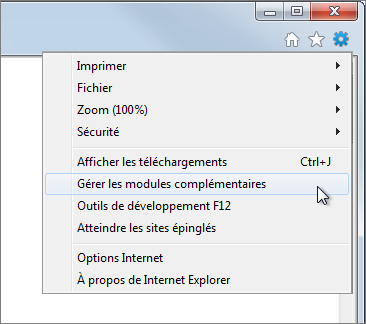 Option de menu Gérer les modules complémentaires