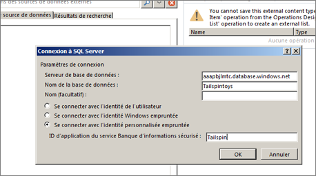 Capture d'écran de la boîte de dialogue Connexion à SQL Server qui permet de renseigner le nom de votre serveur de base de données SQLAzure et d'utiliser Se connecter avec l'identité personnalisée empruntée pour entrer votre ID d'application du service Banque d'informations sécurisé.