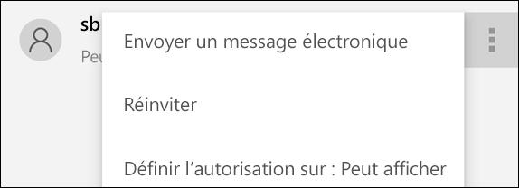 Les options de gestion des utilisateurs permettent de renvoyer une invitation ou de modifier l'accès d'un utilisateur au fichier.