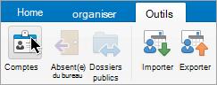 Affiche le bouton comptes dans le menu Outils