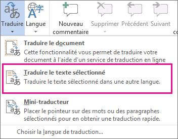 Traduire du texte sélectionné