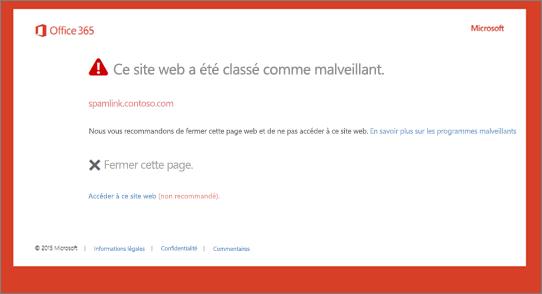 Page d'avertissement d'origine sur un site malveillant