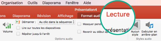Quand un clip vidéo est sélectionné sur une diapositive, un onglet Lecture s'affiche dans le ruban de barre d'outils, qui permet de définir les options de lecture.