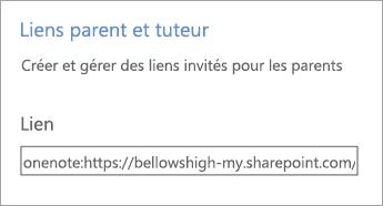 Les liens parent et tuteur créent des liens hypertextes dans Gérer les blocs-notes.