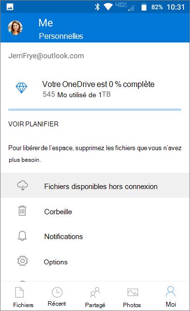 Dossier OneDrive en mode hors connexion