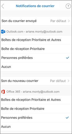 Page notifications par courrier électronique avec les contacts favoris sélectionnés