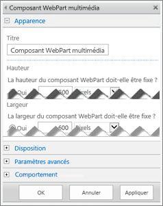 Capture d'écran du panneau de modification de composant WebPart multimédia, montrant certaines des propriétés que vous pouvez configurer