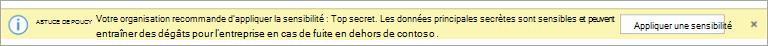 Capture d'écran d'un conseil de stratégie pour une étiquette de confidentialité recommandée