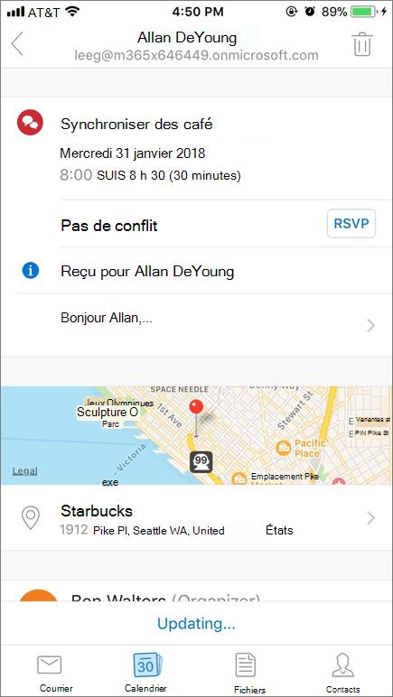 Capture d'écran montre l'écran d'un appareil mobile avec élément d'invitation de calendrier.