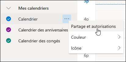Capture d'écran du curseur survolant Partage et autorisations dans le menu contextuel du calendrier