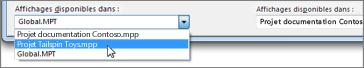 Sélection d'un fichier de projet de destination dans la boîte de dialogue Organiser de Project.