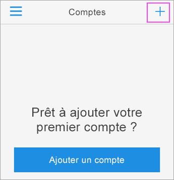 Appuyez sur le signe + dans l'application Azure Authenticator.