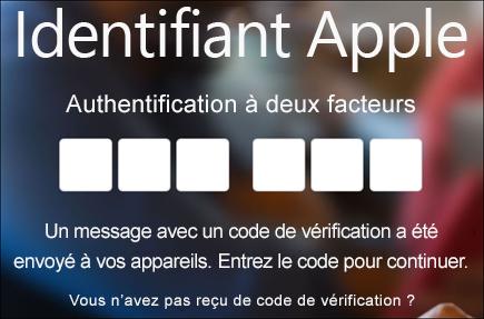 Entrez votre code d'authentification à deux facteurs