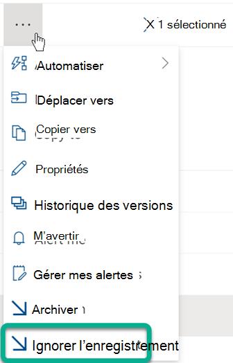 L'option Ignorer l'achat se trouve dans le menu trois points au-dessus de la liste de fichiers de SharePoint bibliothèque.
