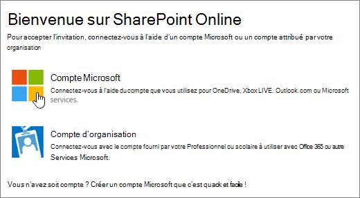 Capture d'écran montrant l'écran de connexion à SharePoint Online.