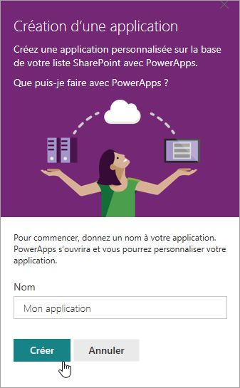 Donnez un nom pour le PowerApp, puis cliquez sur Créer.
