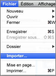 Importer dans le menu Fichier