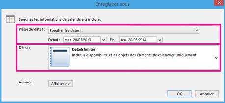 Enregistrement de calendrier - choix des détails