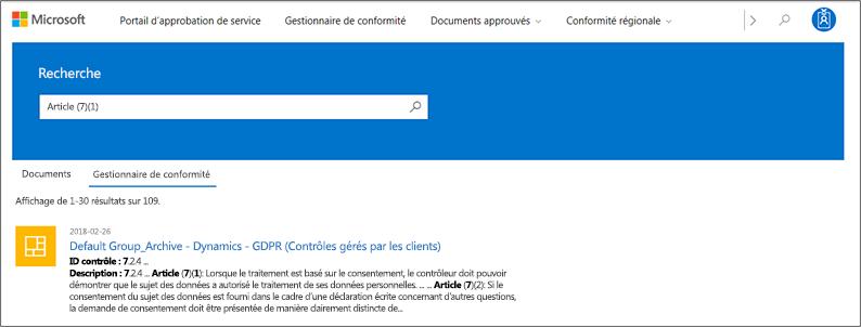 Portail de gestion de la confidentialité du service - de recherche sur les contrôles du Gestionnaire de conformité