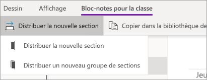Bouton distribuer une nouvelle section avec la liste déroulante des options.