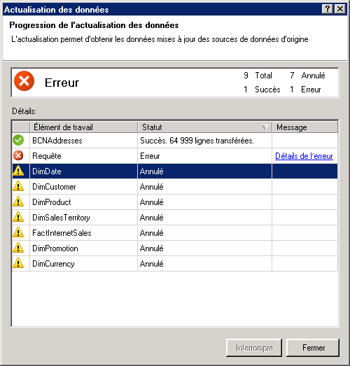 Messages d'état d'actualisation des données dans PowerPivot
