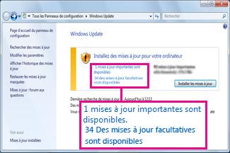 Liens dans le volet Windows Update
