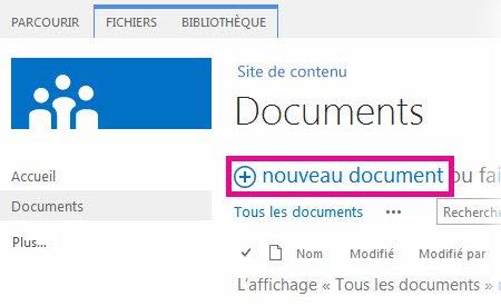 Cliquer sur Ajouter pour faire glisser des fichiers vers une bibliothèque