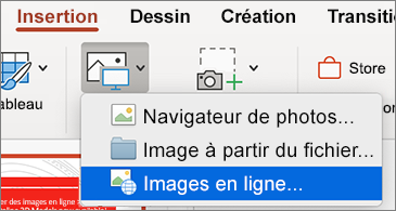 Menu Insertion affichant la commande Images en ligne