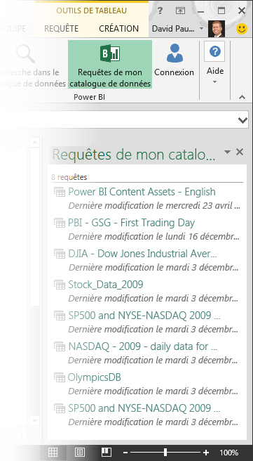 My Data Catalog Queries pane