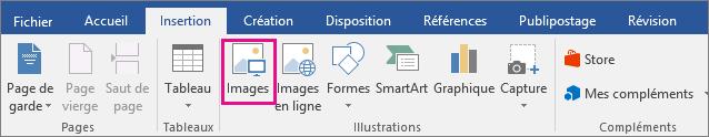 L'icône Images est mise en surbrillance dans l'onglet Insertion.