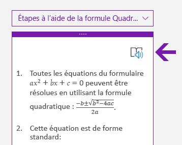Icône du Lecteur immersif dans le volet Mathématiques de OneNote pour Windows10