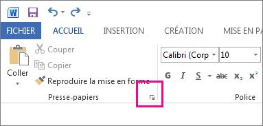 Démarrage du Presse-papiers dans Word2013