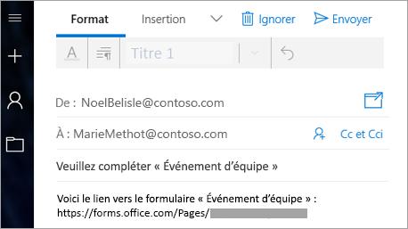 Envoyer un lien d'accès à votre formulaire dans un courrier électronique