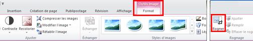Commande Rogner sous l'onglet Outils Image > Format du ruban dans Publisher