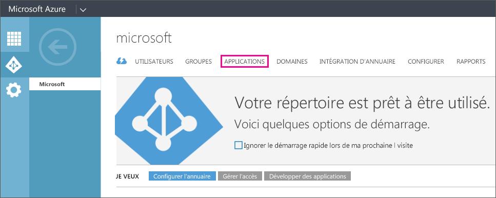 Menu Azure AD avec l'option APPLICATIONS sélectionnée