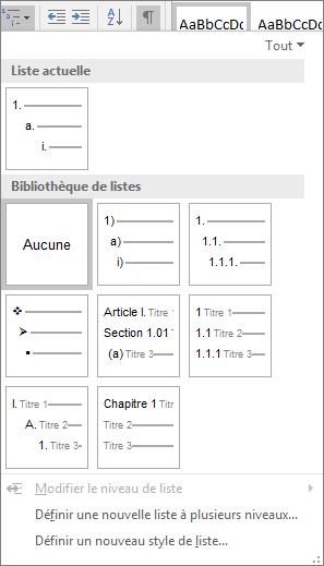 Cliquez sur le bouton Liste à plusieurs niveaux pour ajouter la numérotation à un style de titre prédéfini, par exemple, Titre 1, dans le titre de votre document.