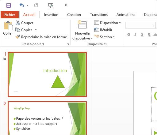 PowerPoint2016 avec le thème Blanc appliqué.